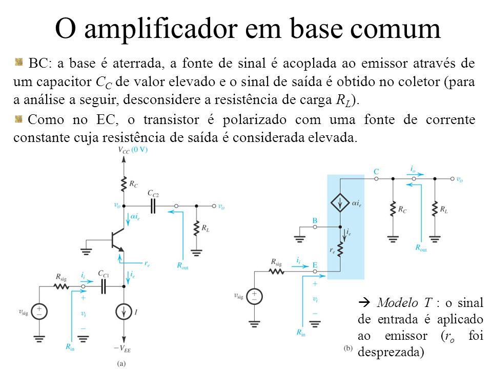 O amplificador em base comum BC: a base é aterrada, a fonte de sinal é acoplada ao emissor através de um capacitor C C de valor elevado e o sinal de s