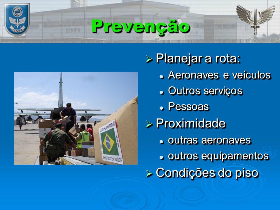PrevençãoPrevenção  Planejar a rota: Aeronaves e veículos Outros serviços Pessoas  Proximidade outras aeronaves outros equipamentos  Condições do piso