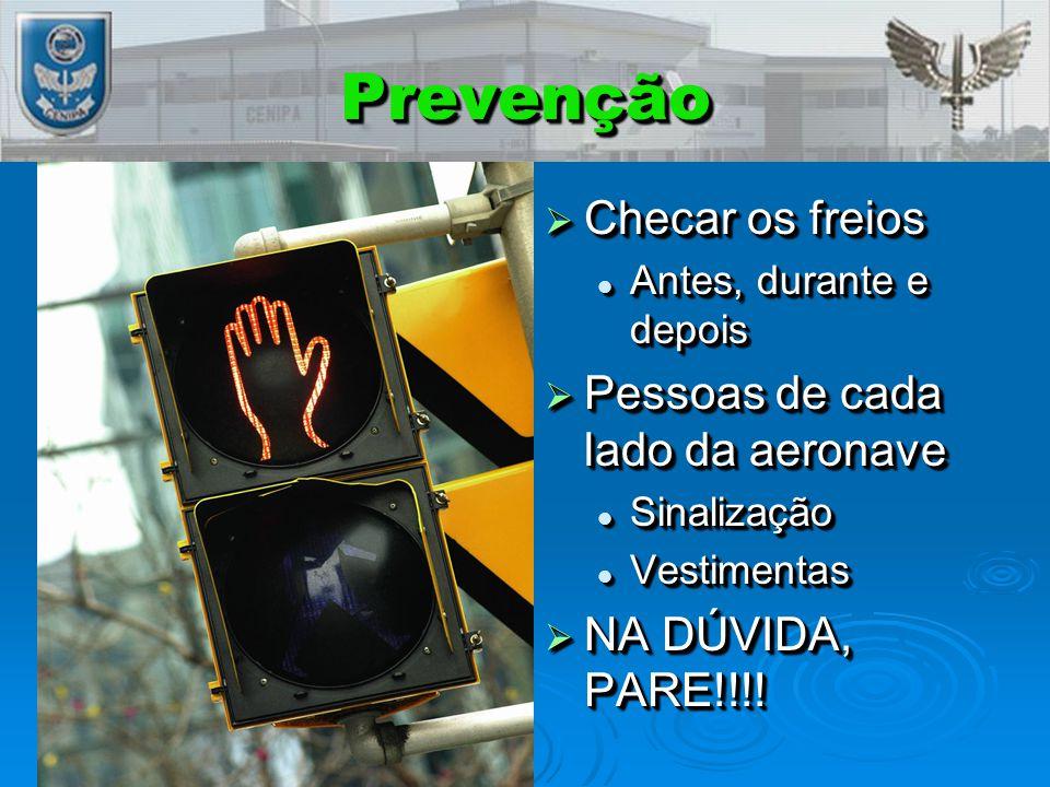 PrevençãoPrevenção  Checar os freios Antes, durante e depois  Pessoas de cada lado da aeronave Sinalização Vestimentas  NA DÚVIDA, PARE!!!!