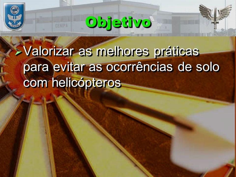 ObjetivoObjetivo  Valorizar as melhores práticas para evitar as ocorrências de solo com helicópteros