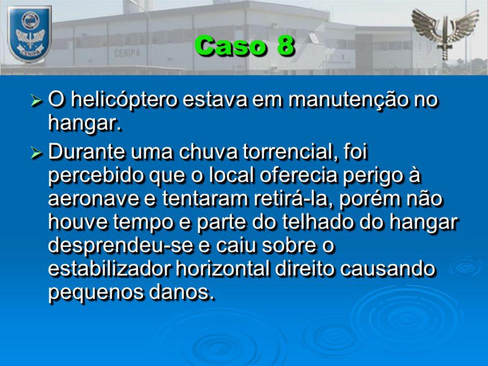 Caso 8  O helicóptero estava em manutenção no hangar.  Durante uma chuva torrencial, foi percebido que o local oferecia perigo à aeronave e tentaram
