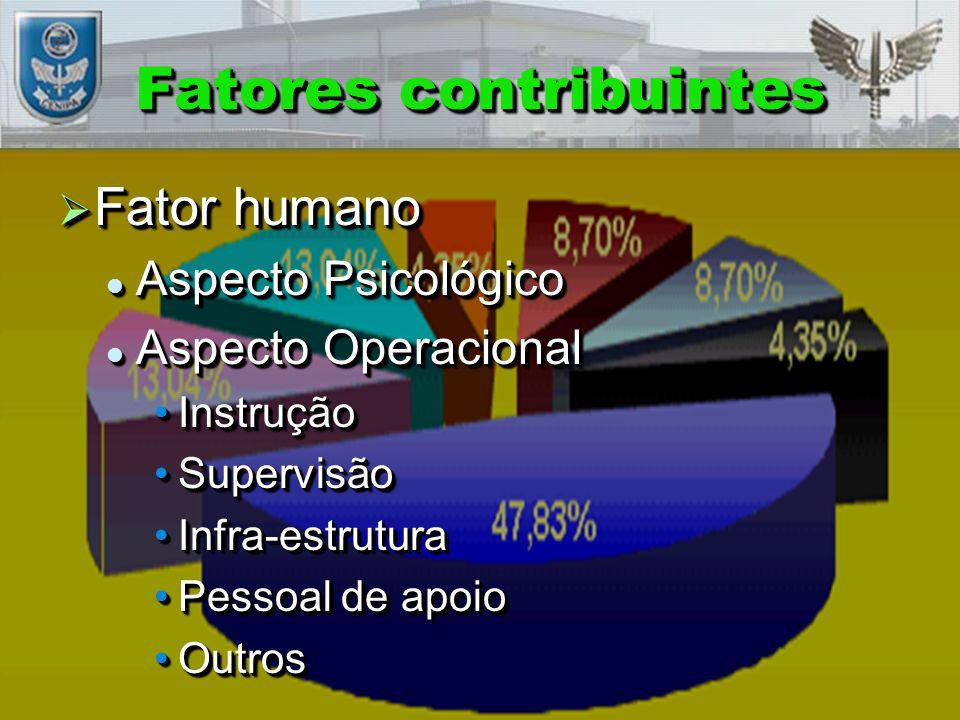 Fatores contribuintes  Fator humano Aspecto Psicológico Aspecto Psicológico Aspecto Operacional Aspecto Operacional InstruçãoInstrução SupervisãoSupervisão Infra-estruturaInfra-estrutura Pessoal de apoioPessoal de apoio OutrosOutros  Fator humano Aspecto Psicológico Aspecto Psicológico Aspecto Operacional Aspecto Operacional InstruçãoInstrução SupervisãoSupervisão Infra-estruturaInfra-estrutura Pessoal de apoioPessoal de apoio OutrosOutros