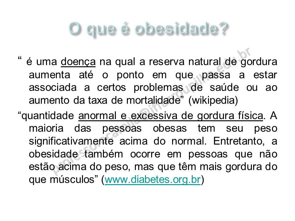 professoracamila@iffarroupilha.edu.br é uma doença na qual a reserva natural de gordura aumenta até o ponto em que passa a estar associada a certos problemas de saúde ou ao aumento da taxa de mortalidade (wikipedia) quantidade anormal e excessiva de gordura física.