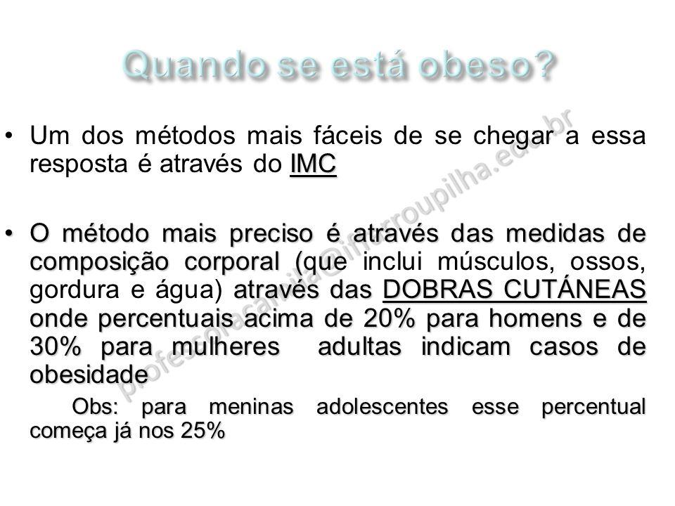 professoracamila@iffarroupilha.edu.br IMCUm dos métodos mais fáceis de se chegar a essa resposta é através do IMC O método mais preciso é através das