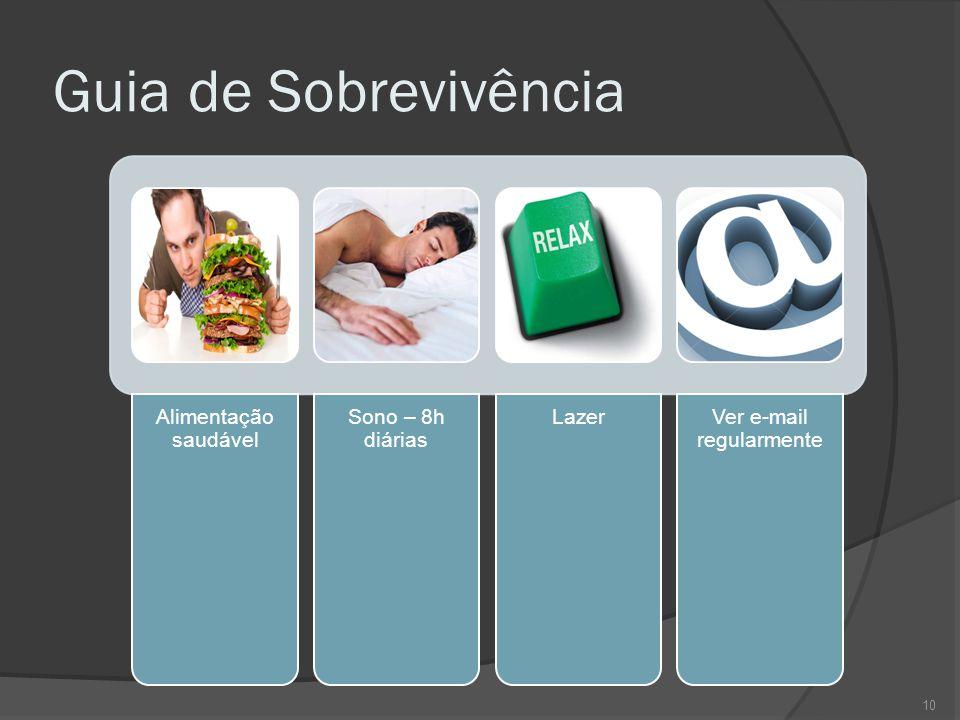 Guia de Sobrevivência Alimentação saudável Sono – 8h diárias Lazer Ver e-mail regularmente 10