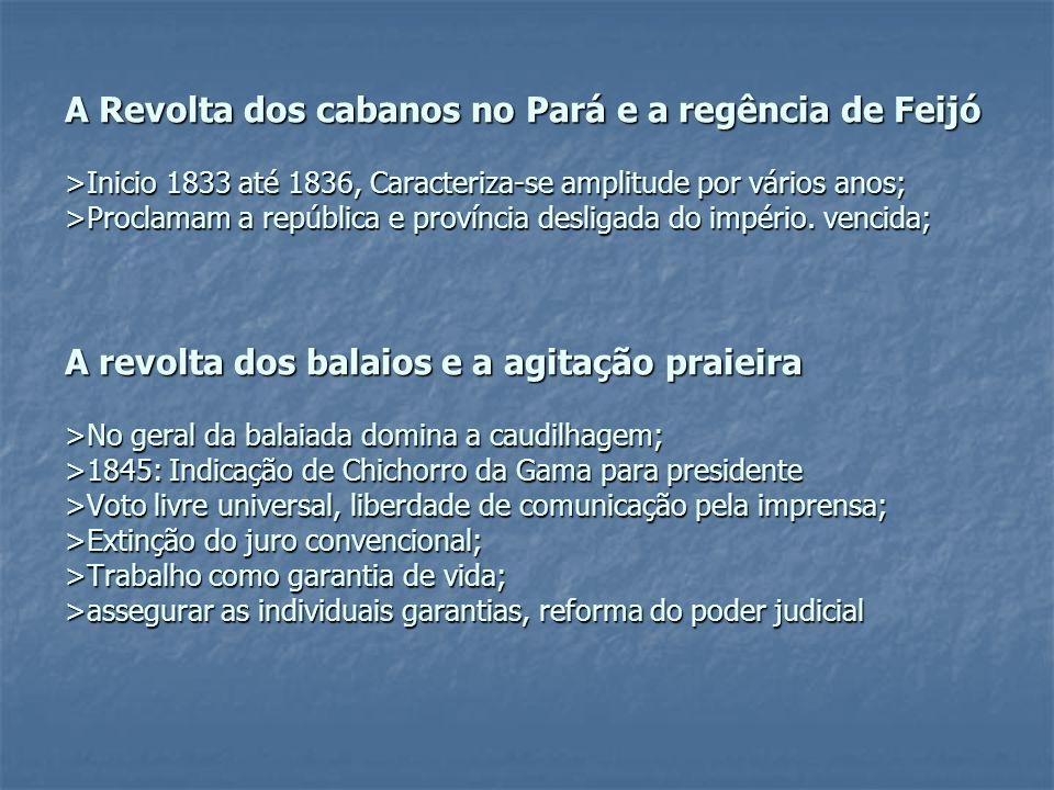 A Revolta dos cabanos no Pará e a regência de Feijó >Inicio 1833 até 1836, Caracteriza-se amplitude por vários anos; >Proclamam a república e provínci