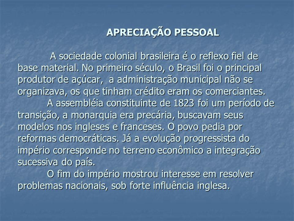 APRECIAÇÃO PESSOAL A sociedade colonial brasileira é o reflexo fiel de base material. No primeiro século, o Brasil foi o principal produtor de açúcar,