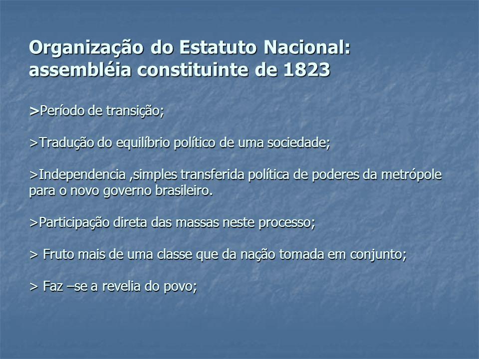 Organização do Estatuto Nacional: assembléia constituinte de 1823 >Período de transição; >Tradução do equilíbrio político de uma sociedade; >Independe