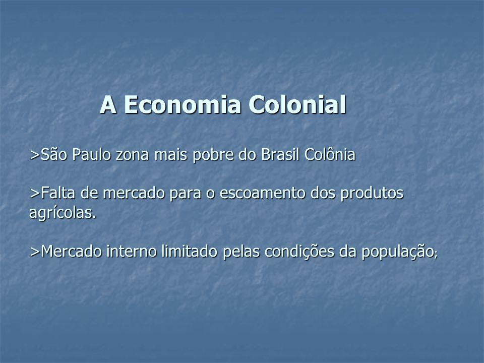 A Economia Colonial >São Paulo zona mais pobre do Brasil Colônia >Falta de mercado para o escoamento dos produtos agrícolas. >Mercado interno limitado