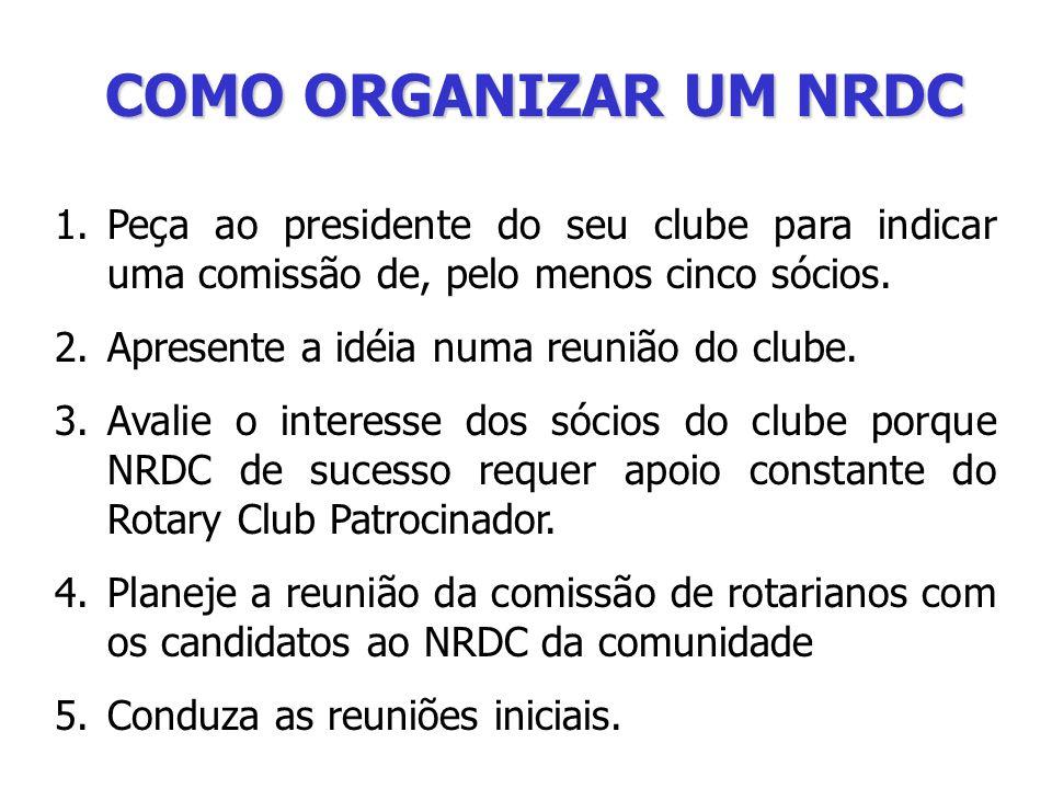 COMO ORGANIZAR UM NRDC 1.Peça ao presidente do seu clube para indicar uma comissão de, pelo menos cinco sócios.