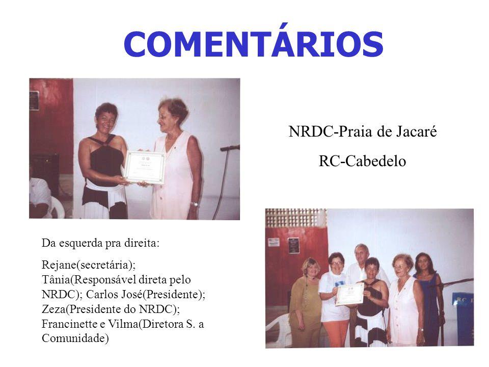 COMENTÁRIOS NRDC-Praia de Jacaré RC-Cabedelo Da esquerda pra direita: Rejane(secretária); Tânia(Responsável direta pelo NRDC); Carlos José(Presidente); Zeza(Presidente do NRDC); Francinette e Vilma(Diretora S.