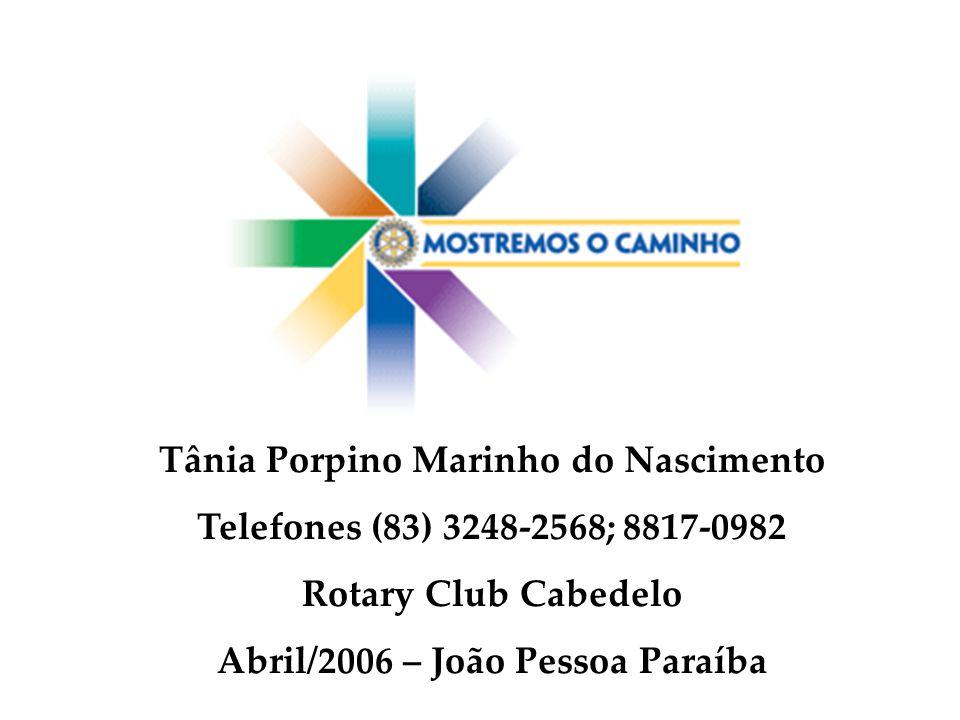 Tânia Porpino Marinho do Nascimento Telefones (83) 3248-2568; 8817-0982 Rotary Club Cabedelo Abril/2006 – João Pessoa Paraíba