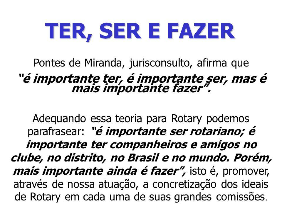 TER, SER E FAZER Pontes de Miranda, jurisconsulto, afirma que é importante ter, é importante ser, mas é mais importante fazer .
