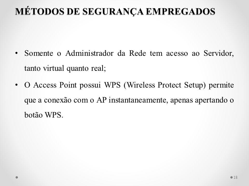 MÉTODOS DE SEGURANÇA EMPREGADOS Somente o Administrador da Rede tem acesso ao Servidor, tanto virtual quanto real; O Access Point possui WPS (Wireless