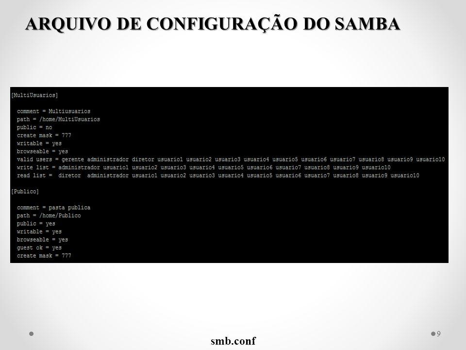 smb.conf 9 ARQUIVO DE CONFIGURAÇÃO DO SAMBA