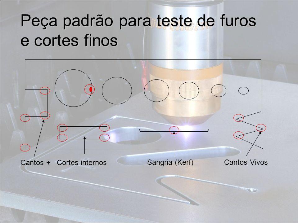 Peça padrão para teste de furos e cortes finos Cantos + Cortes internos Sangria (Kerf)Cantos Vivos