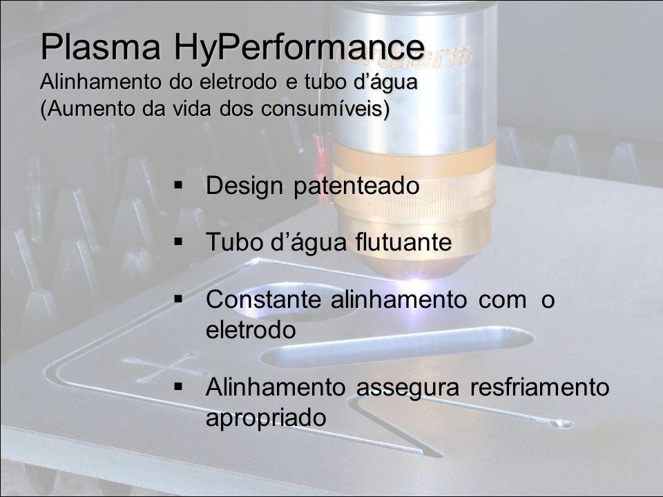 Plasma HyPerformance Alinhamento do eletrodo e tubo d'água (Aumento da vida dos consumíveis)  Design patenteado  Tubo d'água flutuante  Constante
