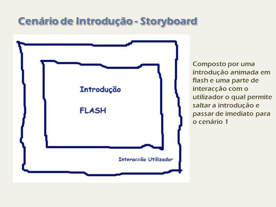 Cenário de Introdução - Storyboard Composto por uma introdução animada em flash e uma parte de interacção com o utilizador o qual permite saltar a introdução e passar de imediato para o cenário 1