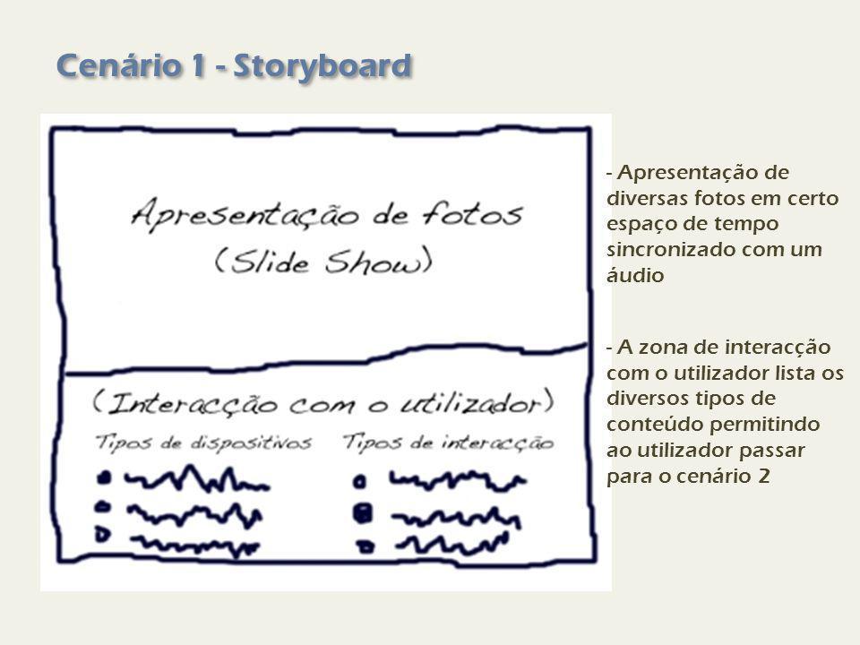 Cenário 1 - Storyboard - Apresentação de diversas fotos em certo espaço de tempo sincronizado com um áudio - A zona de interacção com o utilizador lista os diversos tipos de conteúdo permitindo ao utilizador passar para o cenário 2