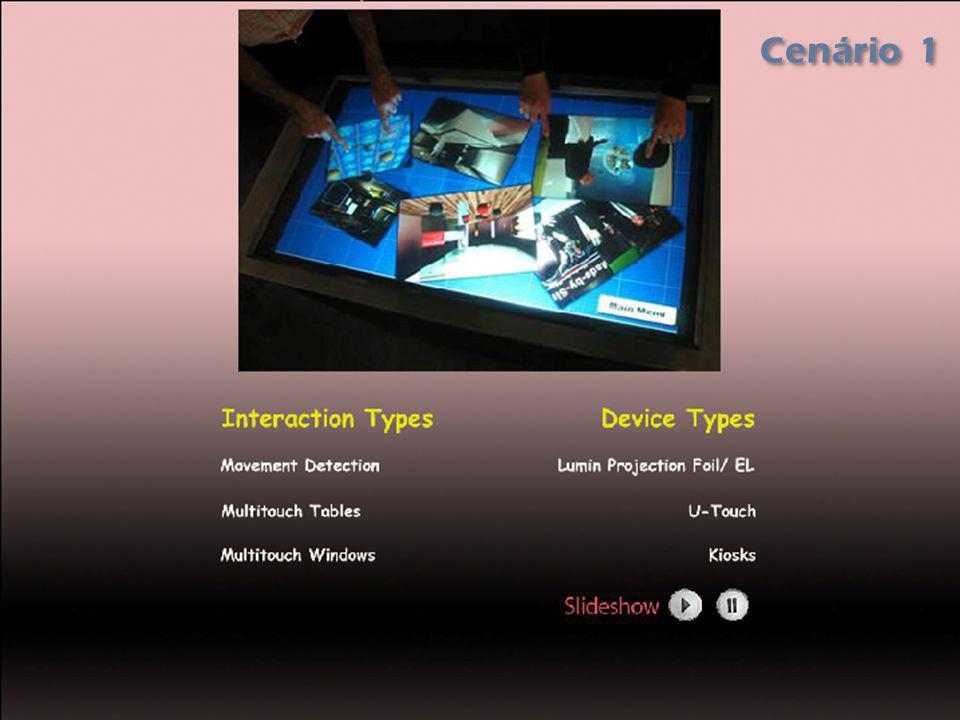 Cenário 2 - Storyboard - Reprodução de um vídeo relacionado com o conteúdo seleccionado pelo utilizador Quando o video termina é automáticamente mostrado o cenário 3 A zona de interacção permite navegar para o menu Principal ou ir para o Cenário 3