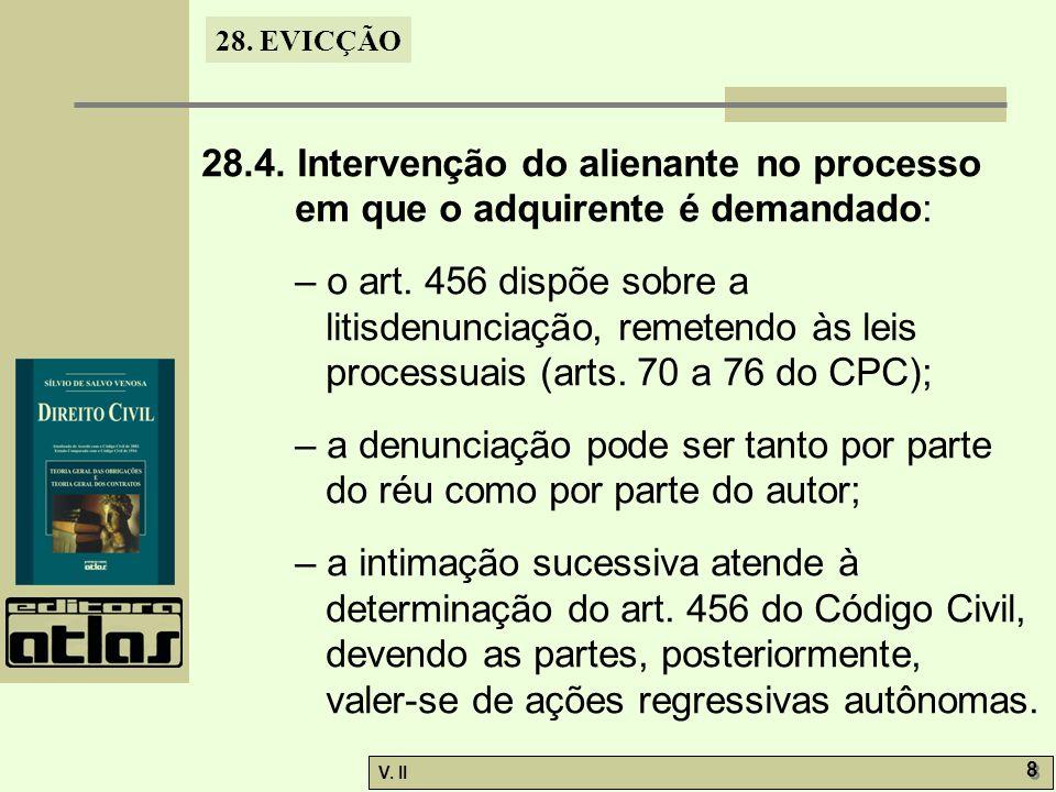 28. EVICÇÃO V. II 8 8 28.4. Intervenção do alienante no processo em que o adquirente é demandado: – o art. 456 dispõe sobre a litisdenunciação, remete