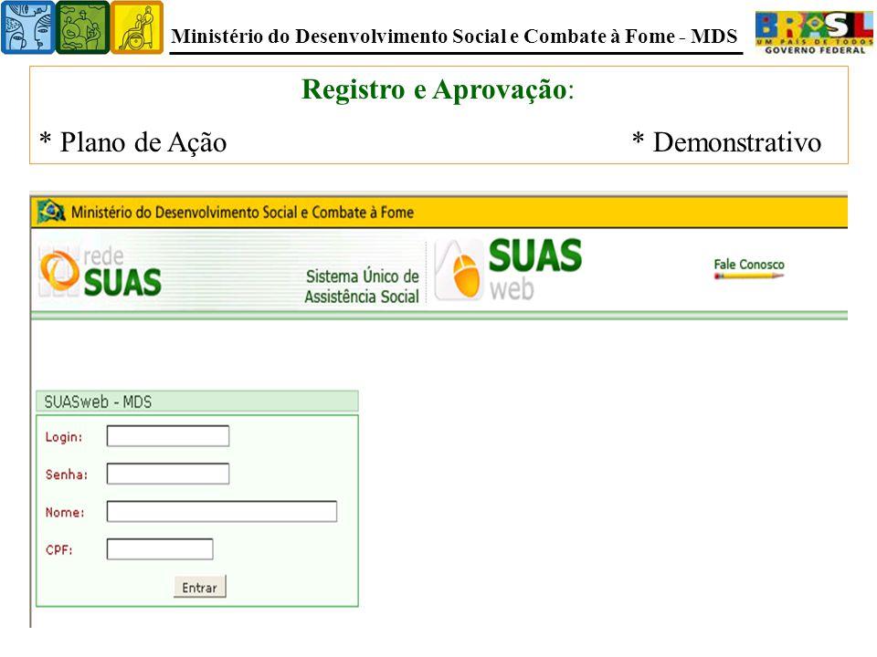 Registro e Aprovação: * Plano de Ação * Demonstrativo