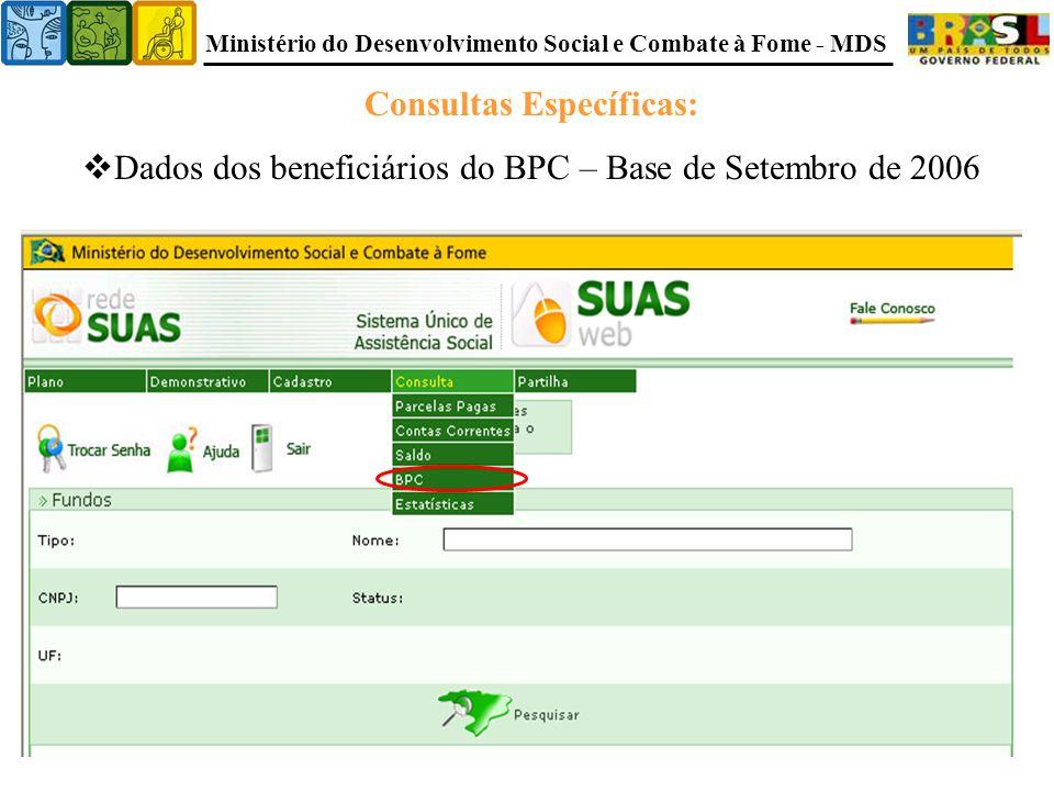 Ministério do Desenvolvimento Social e Combate à Fome - MDS Consultas Específicas:  Dados dos beneficiários do BPC – Base de Setembro de 2006