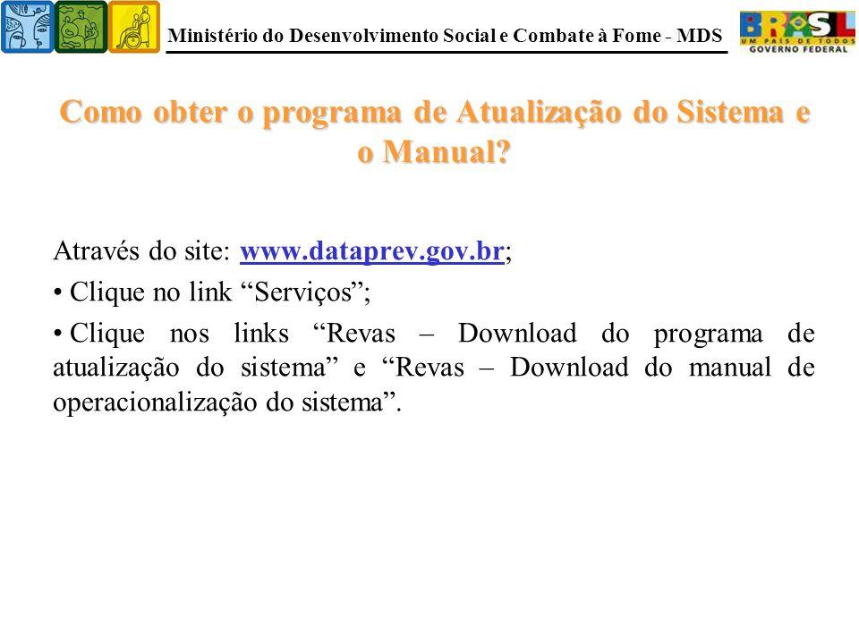 Ministério do Desenvolvimento Social e Combate à Fome - MDS Como obter o programa de Atualização do Sistema e o Manual.
