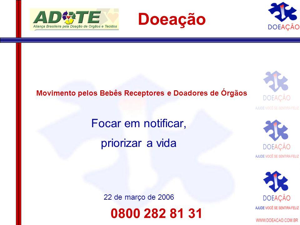 0800 282 81 31 Doeação Movimento pelos Bebês Receptores e Doadores de Órgãos Focar em notificar, priorizar a vida 22 de março de 2006