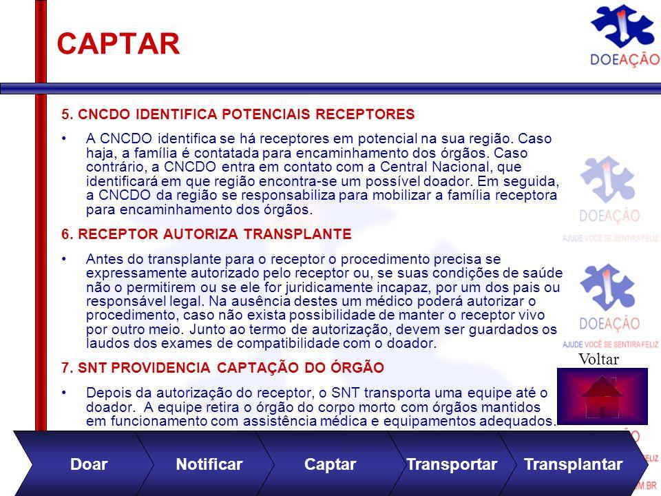 Divulgação no site 0800 282 81 31 CAPTAR 5. CNCDO IDENTIFICA POTENCIAIS RECEPTORES A CNCDO identifica se há receptores em potencial na sua região. Cas
