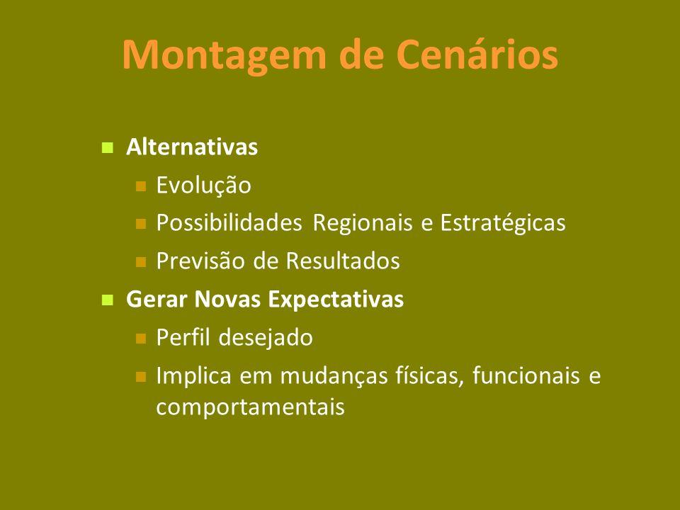 Montagem de Cenários Alternativas Evolução Possibilidades Regionais e Estratégicas Previsão de Resultados Gerar Novas Expectativas Perfil desejado Implica em mudanças físicas, funcionais e comportamentais
