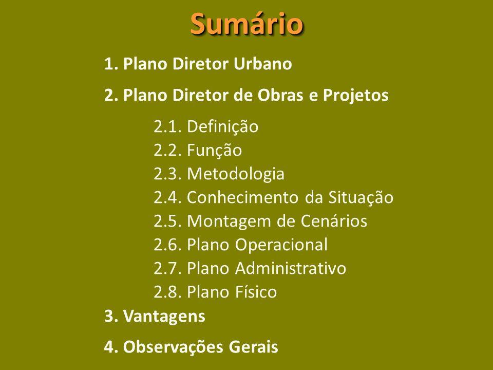 SumárioSumário 1.Plano Diretor Urbano 2. Plano Diretor de Obras e Projetos 2.1.