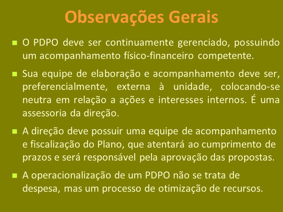 Observações Gerais O PDPO deve ser continuamente gerenciado, possuindo um acompanhamento físico-financeiro competente.