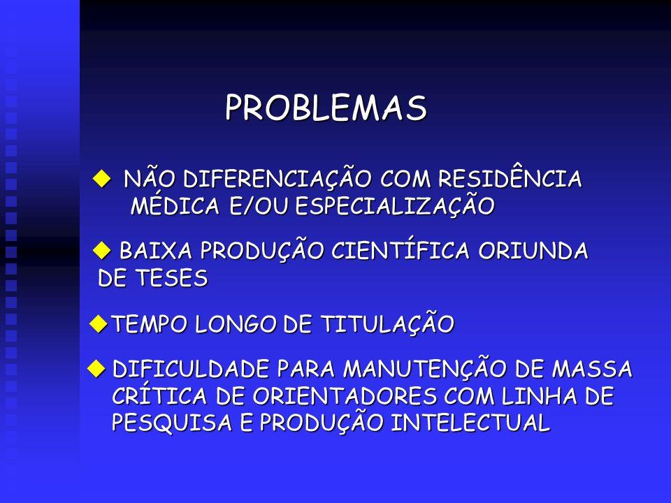 PROBLEMAS uNÃO DIFERENCIAÇÃO COM RESIDÊNCIA MÉDICA E/OU ESPECIALIZAÇÃO uBAIXA PRODUÇÃO CIENTÍFICA ORIUNDA DE TESES uDIFICULDADE PARA MANUTENÇÃO DE MASSA CRÍTICA DE ORIENTADORES COM LINHA DE PESQUISA E PRODUÇÃO INTELECTUAL uTEMPO LONGO DE TITULAÇÃO
