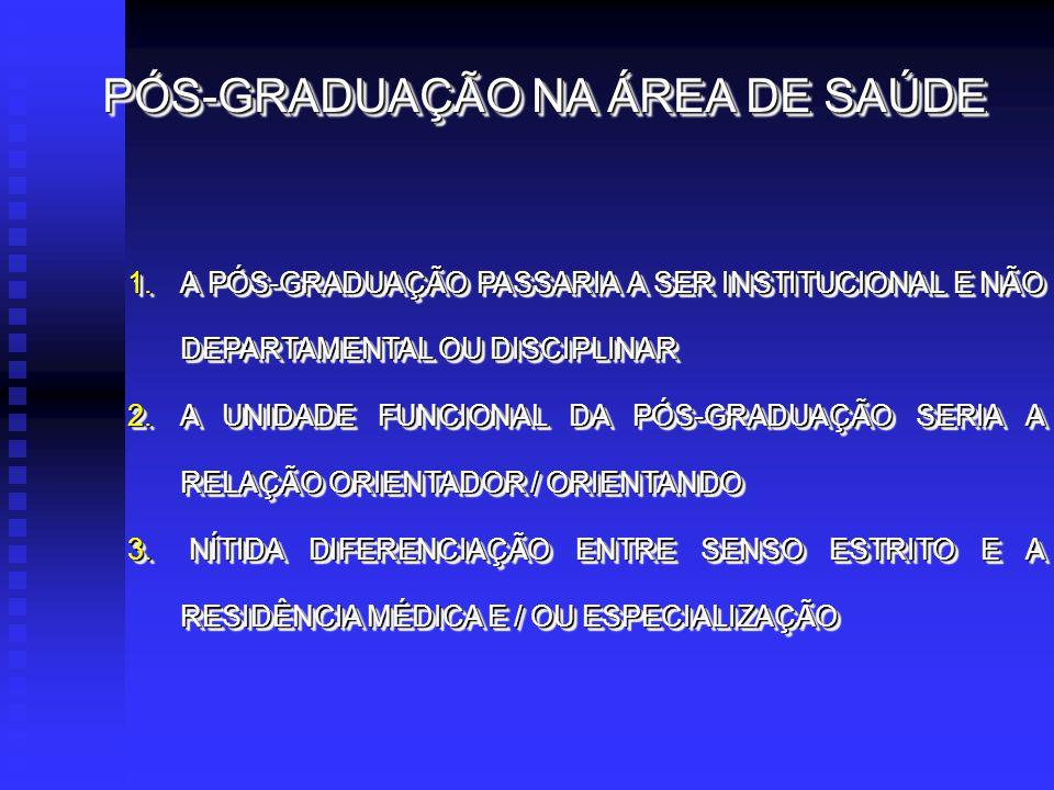 PÓS-GRADUAÇÃO NA ÁREA DE SAÚDE 1.A PÓS-GRADUAÇÃO PASSARIA A SER INSTITUCIONAL E NÃO DEPARTAMENTAL OU DISCIPLINAR 2.A UNIDADE FUNCIONAL DA PÓS-GRADUAÇÃO SERIA A RELAÇÃO ORIENTADOR / ORIENTANDO 3.