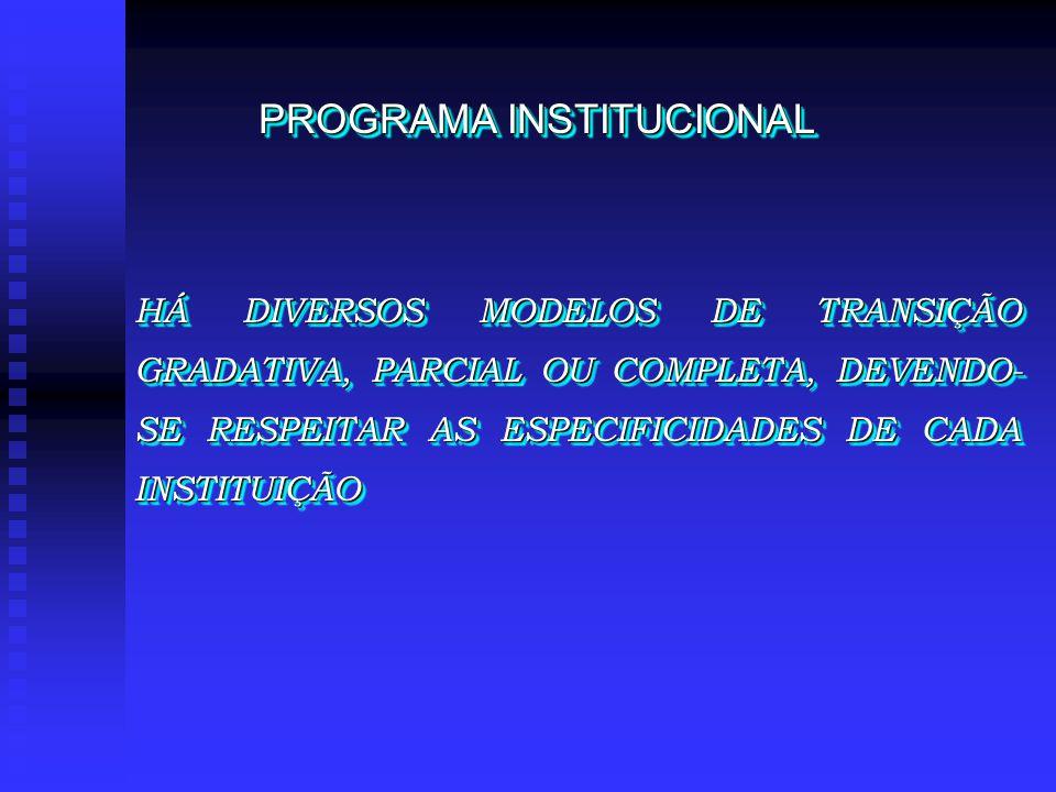 HÁ DIVERSOS MODELOS DE TRANSIÇÃO GRADATIVA, PARCIAL OU COMPLETA, DEVENDO- SE RESPEITAR AS ESPECIFICIDADES DE CADA INSTITUIÇÃO PROGRAMA INSTITUCIONAL
