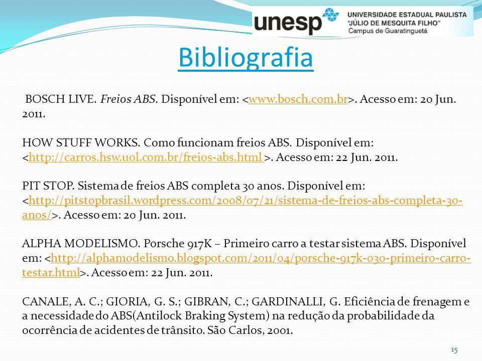 15 Bibliografia BOSCH LIVE. Freios ABS. Disponível em:. Acesso em: 20 Jun. 2011.www.bosch.com.br HOW STUFF WORKS. Como funcionam freios ABS. Disponíve