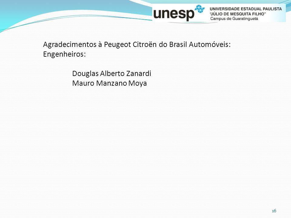 16 Agradecimentos à Peugeot Citroën do Brasil Automóveis: Engenheiros: Douglas Alberto Zanardi Mauro Manzano Moya