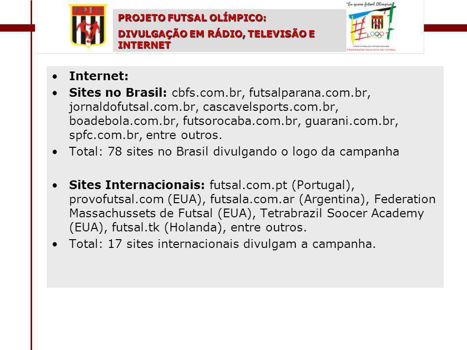 Internet: Sites no Brasil: cbfs.com.br, futsalparana.com.br, jornaldofutsal.com.br, cascavelsports.com.br, boadebola.com.br, futsorocaba.com.br, guarani.com.br, spfc.com.br, entre outros.