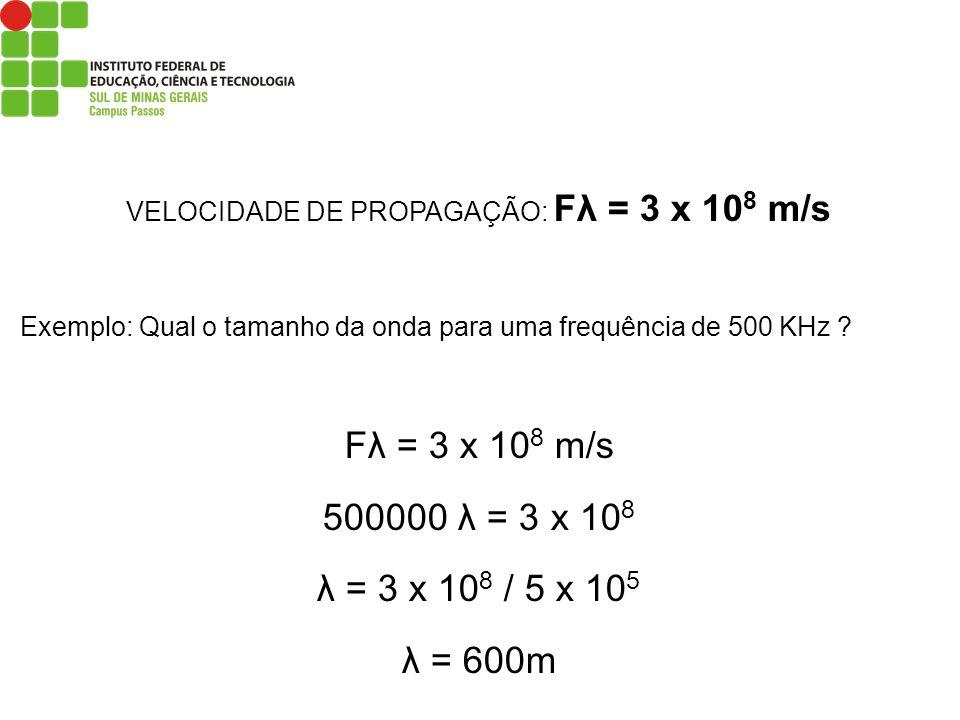VELOCIDADE DE PROPAGAÇÃO: Fλ = 3 x 10 8 m/s Exemplo: Qual o tamanho da onda para uma frequência de 500 KHz ? Fλ = 3 x 10 8 m/s 500000 λ = 3 x 10 8 λ =