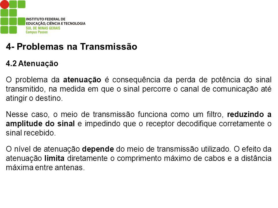 4- Problemas na Transmissão 4.2 Atenuação O problema da atenuação é consequência da perda de potência do sinal transmitido, na medida em que o sinal p
