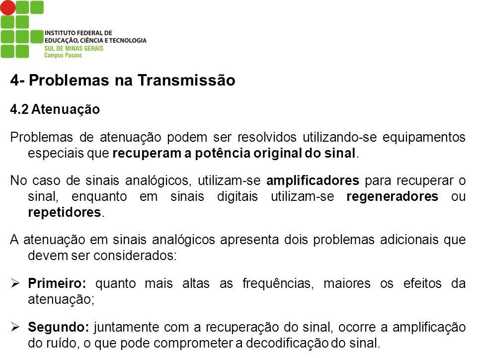 4- Problemas na Transmissão 4.2 Atenuação Problemas de atenuação podem ser resolvidos utilizando-se equipamentos especiais que recuperam a potência or