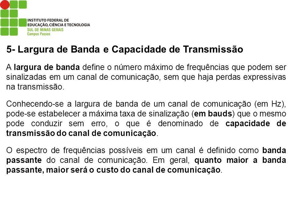 5- Largura de Banda e Capacidade de Transmissão A largura de banda define o número máximo de frequências que podem ser sinalizadas em um canal de comu