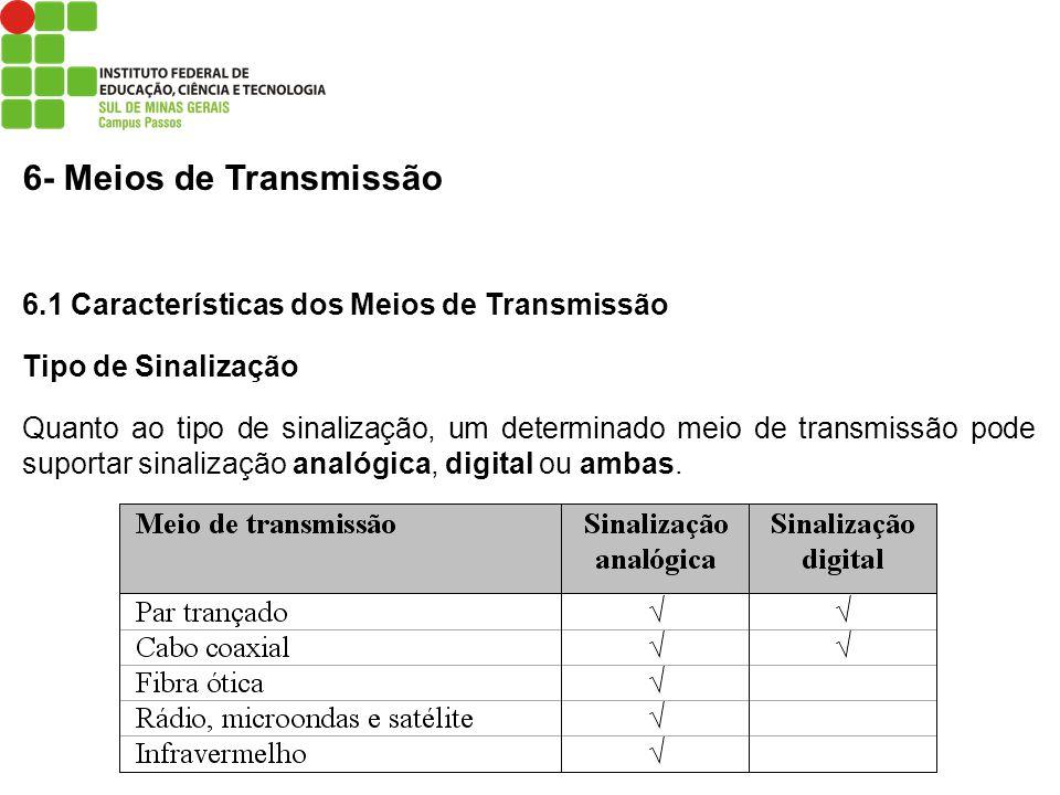 6- Meios de Transmissão 6.1 Características dos Meios de Transmissão Tipo de Sinalização Quanto ao tipo de sinalização, um determinado meio de transmi