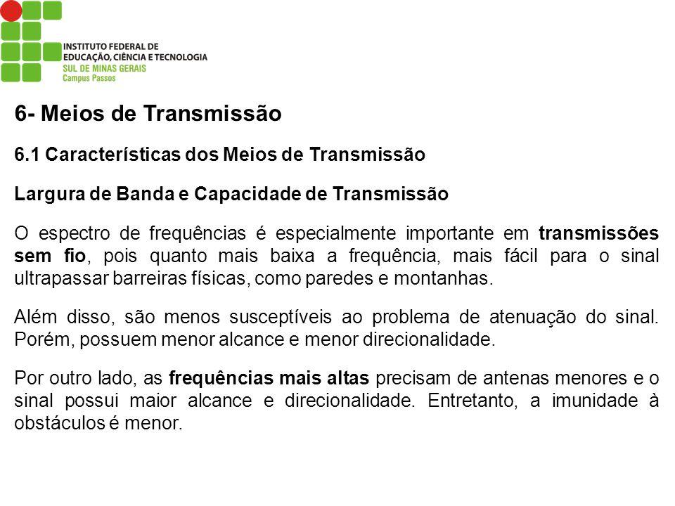 6- Meios de Transmissão 6.1 Características dos Meios de Transmissão Largura de Banda e Capacidade de Transmissão O espectro de frequências é especial