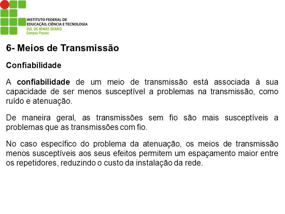 6- Meios de Transmissão Confiabilidade A confiabilidade de um meio de transmissão está associada à sua capacidade de ser menos susceptível a problemas