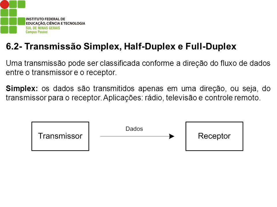 6.2- Transmissão Simplex, Half-Duplex e Full-Duplex Uma transmissão pode ser classificada conforme a direção do fluxo de dados entre o transmissor e o