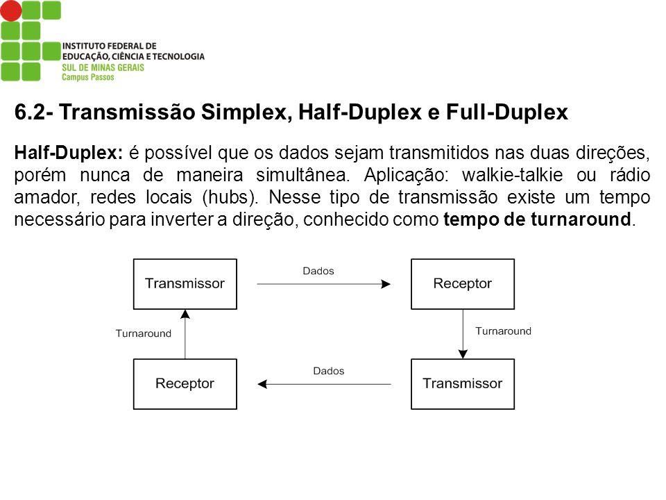 6.2- Transmissão Simplex, Half-Duplex e Full-Duplex Half-Duplex: é possível que os dados sejam transmitidos nas duas direções, porém nunca de maneira