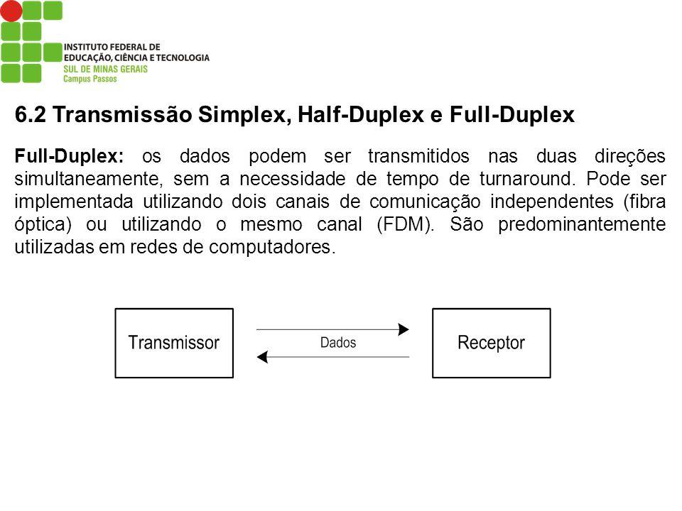 6.2 Transmissão Simplex, Half-Duplex e Full-Duplex Full-Duplex: os dados podem ser transmitidos nas duas direções simultaneamente, sem a necessidade d