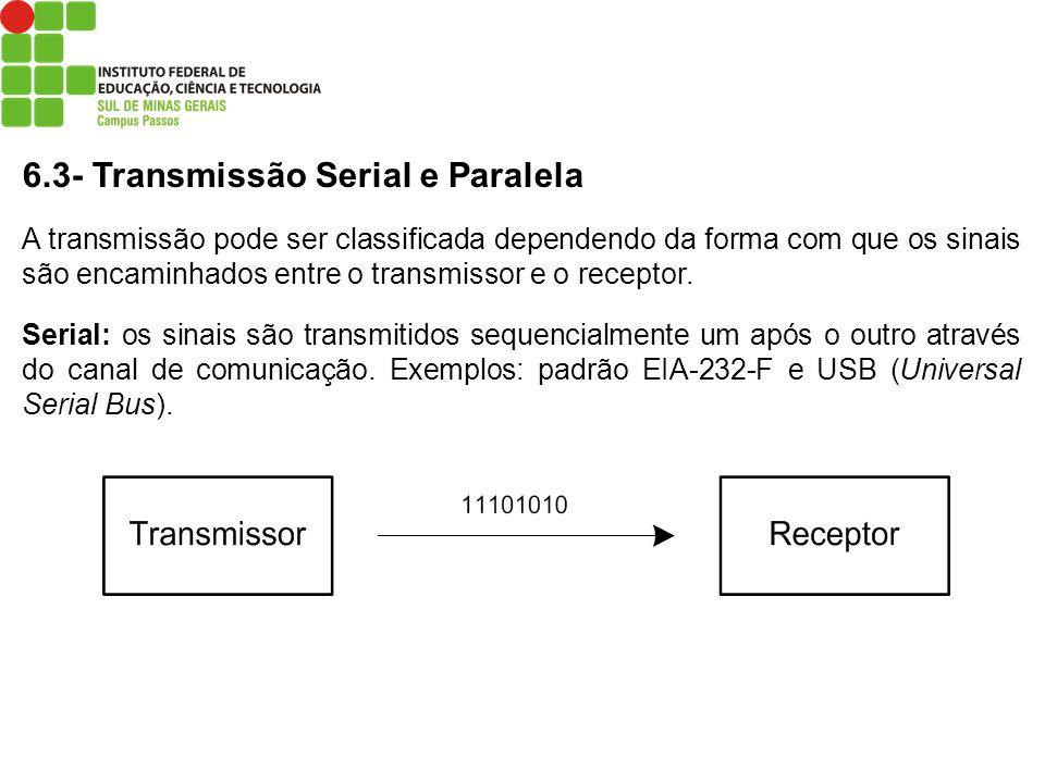 6.3- Transmissão Serial e Paralela A transmissão pode ser classificada dependendo da forma com que os sinais são encaminhados entre o transmissor e o
